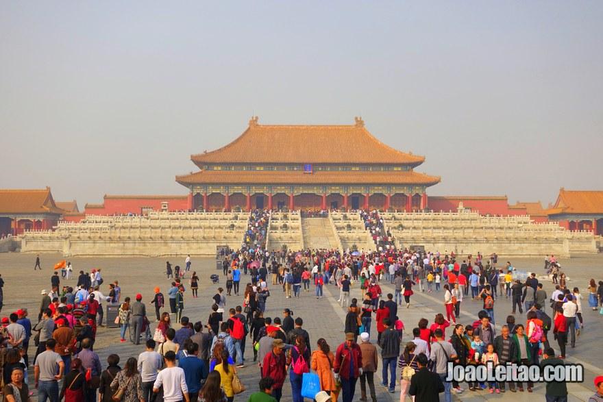 Foto da entrada na Cidade Proibida em Pequim