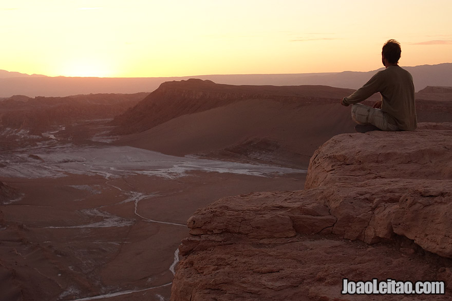 Photo of sunset over the Moon Valley in Atacama Chile