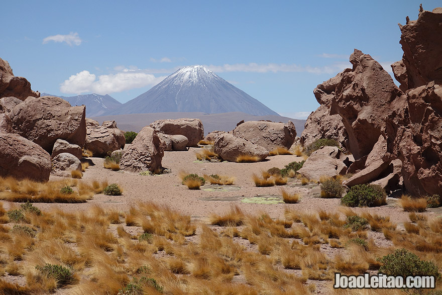 Rocks and Volcano view in Atacama Desert
