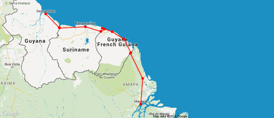 Traveling in the  Guianas in South America - Georgetown in Guyana to Macapá in Brazil