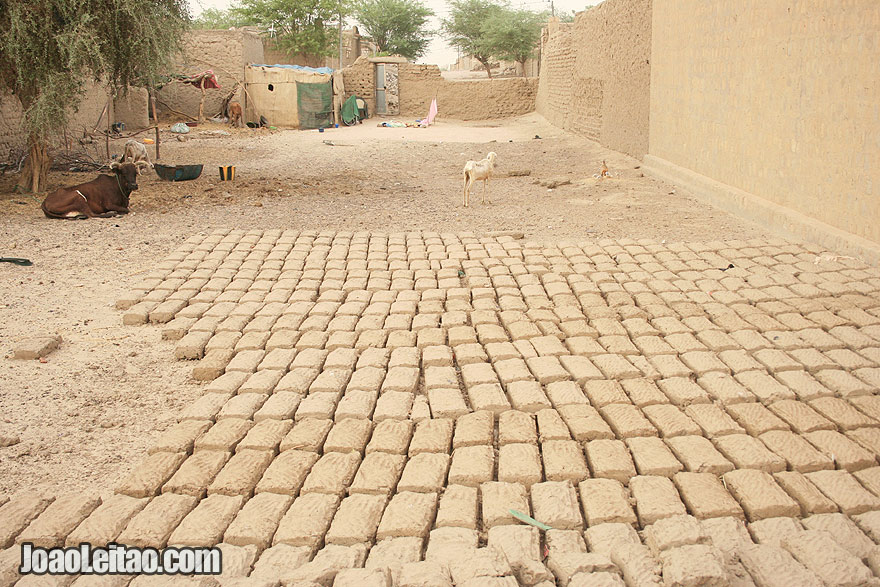 Traditional hand made mud bricks drying in the sun
