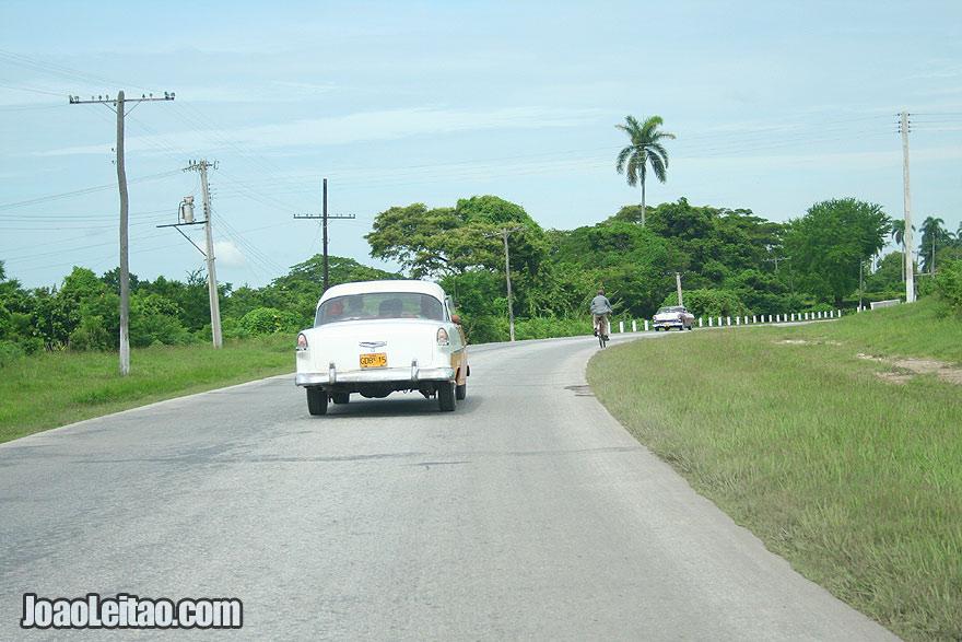 Old American car on Cuban road