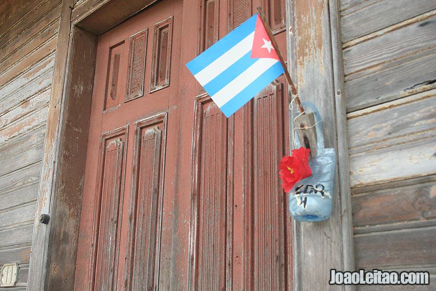 Door detail with Cuban flag