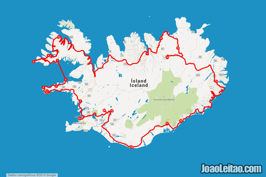 Map of Ring Road + Westfjords Peninsula - Driving in Iceland