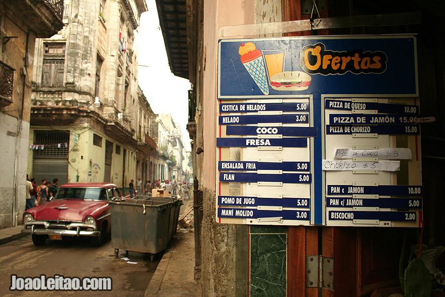 Old Havana menu