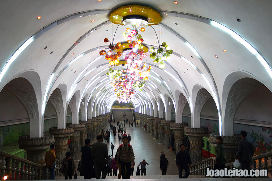 Pyongyang Metro is the deepest subway system in the world, 120 meters /  394 feet below ground and can therefore be used as a shelter in case of armed conflict. Some of the subway's stations are breathtaking.