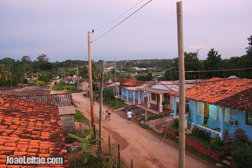 Sunset over Viñales village