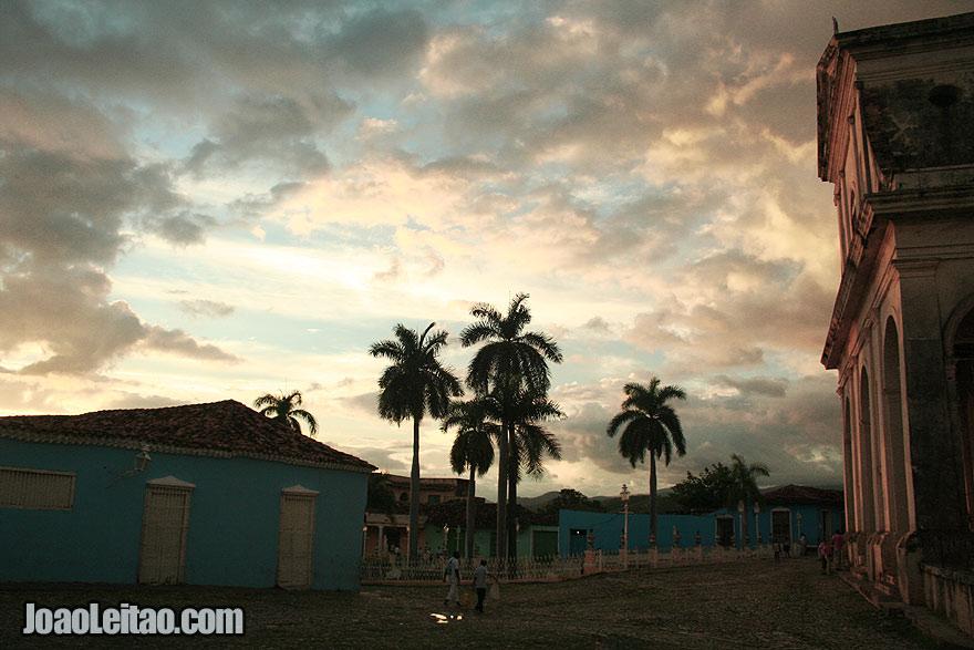 Sunset over Trinidad city center