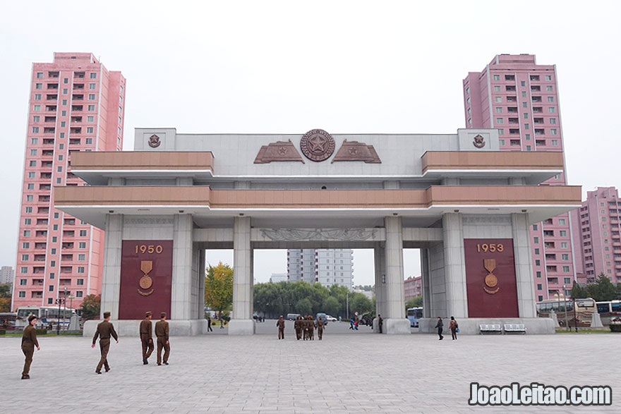 Victorious War Museum impressive entrance gate in Pyongyang