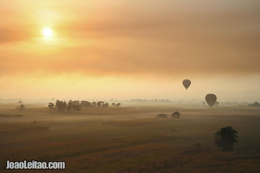 Hot Air Balloon ride above Luxor during sunrise