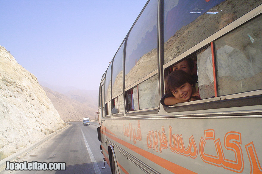 Children on the bus to Shiraz crossing the Zagros Mountains