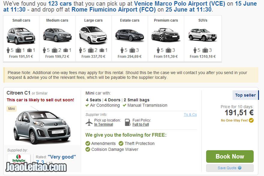 aluguer de carros online para levantar em Veneza
