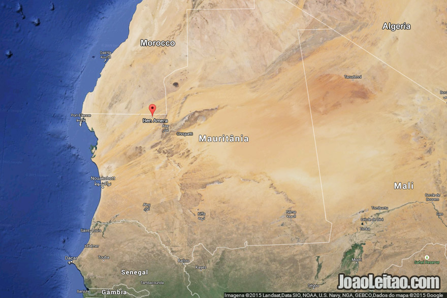 Map with the location of Ben Amera monolith in Mauritania
