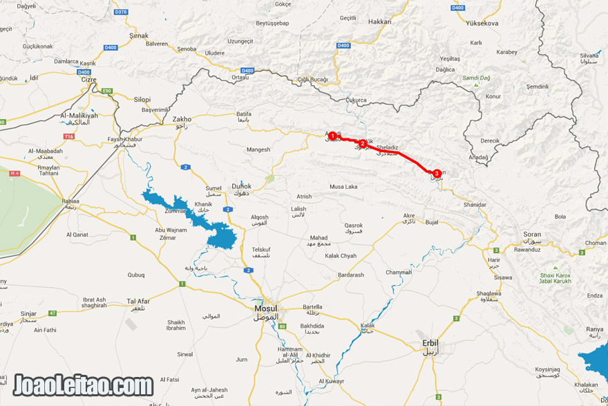 Map of itinerary of my road trip in Iraq