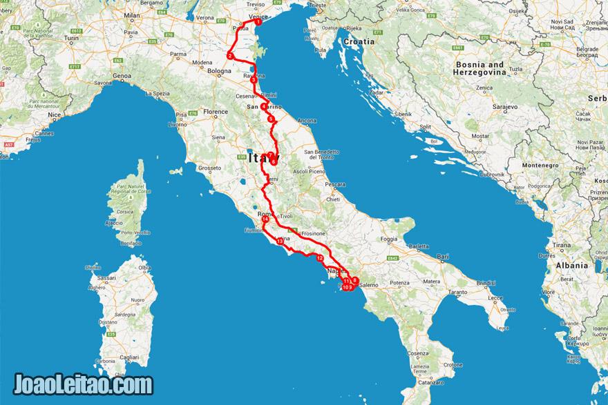 Mapa da viagem de carro