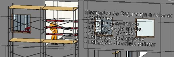 Exemplo de aplicação de interface com modelo BIM com elementos de segurança no trabalho, da tese de Miguel Monteiro