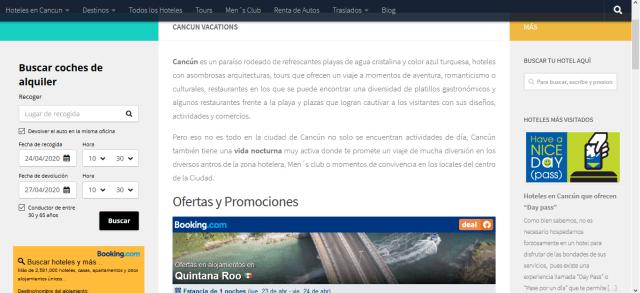 portal web mi cancun - gana dienero con booking