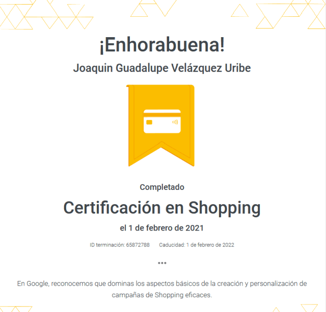 certificado de shopping google ads