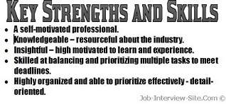 resume strengths examples key strengths skills in a resume