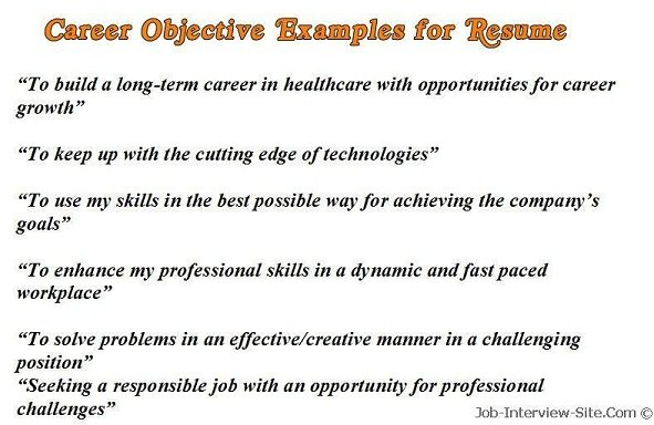 Resume Objective Examples For Any Job. Examples Of Objectives