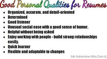 personal qualities of personal qualities for