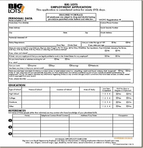 big lots application online job employment form
