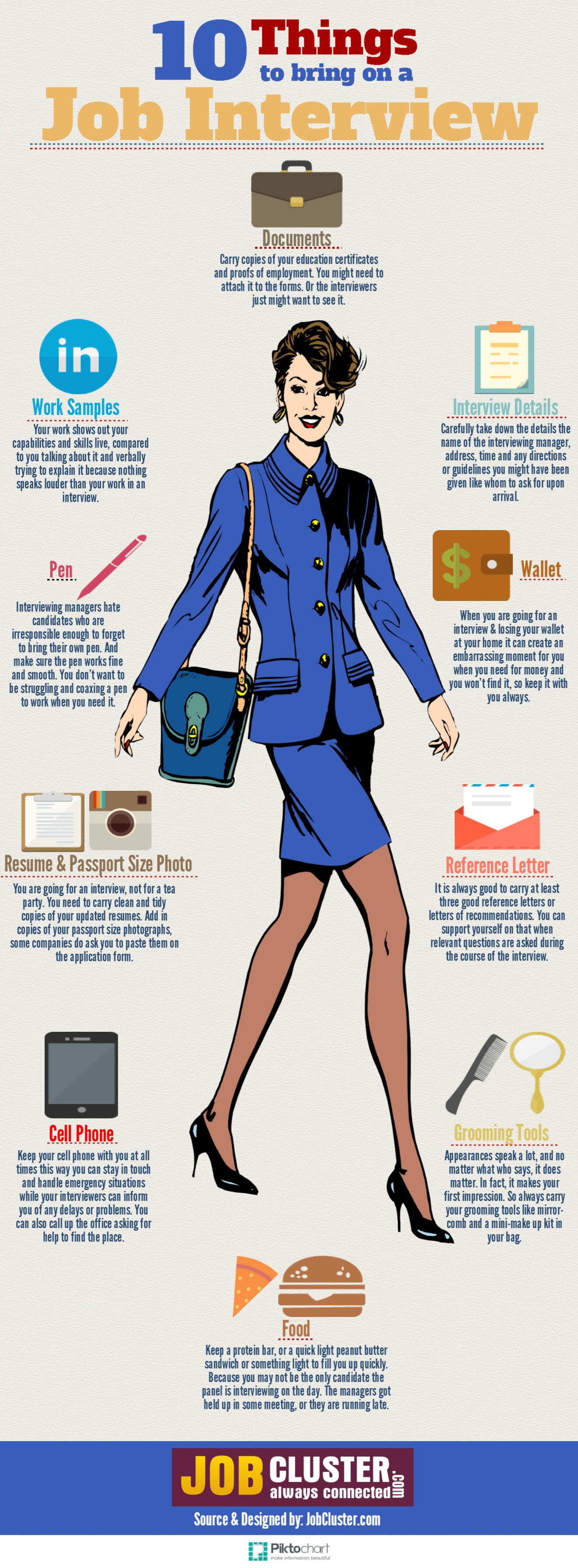 10 Essential Things To Bring To The Interview Infographic