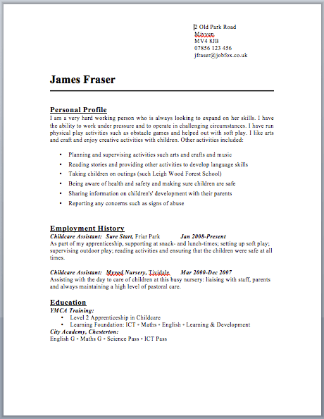 format for resume in word
