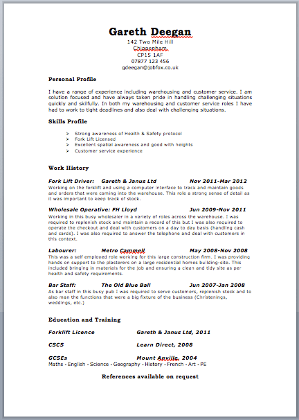 images: TEMPLATE FOR A CV