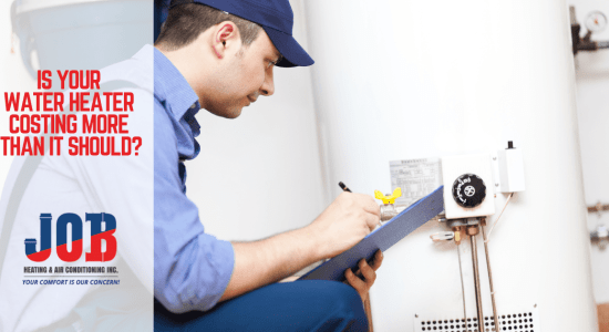 Man evaluating hot water heater