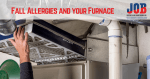 Technician doing furnace maintenance to reduce allergies in household