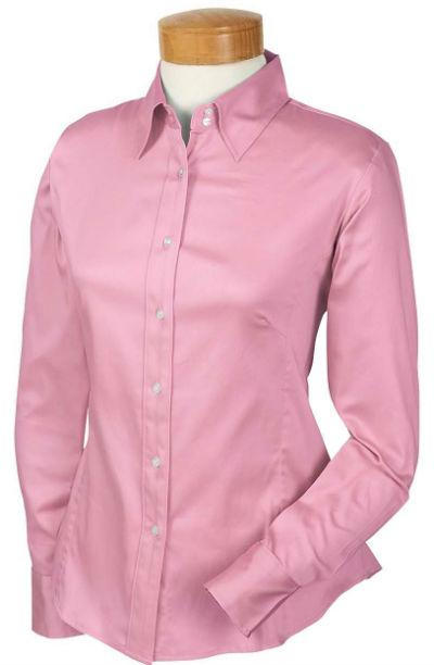 Devon & Jones Pink Ladies Stretch Sateen Blouse Shirt