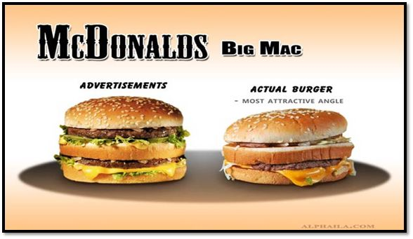 advertising vs real stuff