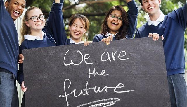 school students shows english written board