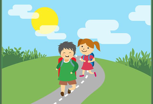 Children going for education.