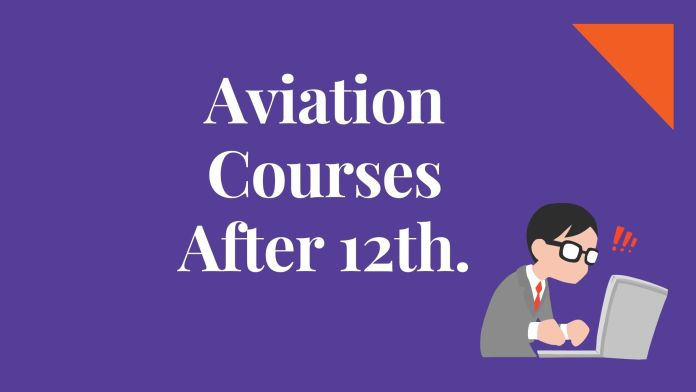 Light blue background with white word text aviation courses after 12th and student in laptop