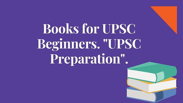 Blue background with white word text books for upsc beginners