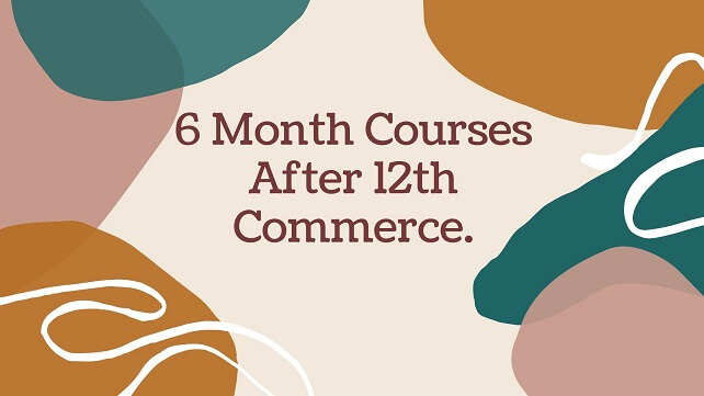 Color full bag round with brown color text words 6 Month Courses After 12th Commerce.