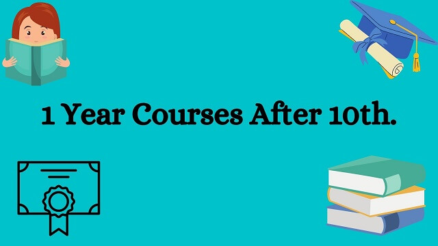 Light blue bag round with black text words 1 Year Courses After 10th.