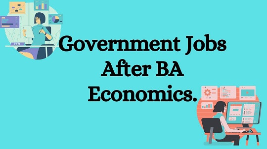 Light blue bag round with back text words Government Jobs After BA Economics.