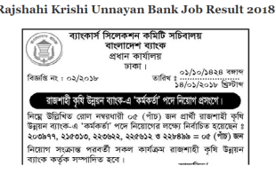 Rajshahi Krishi Unnayan Bank Job Result 2018
