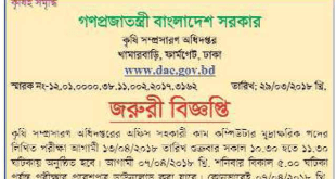 Department of Agricultural Extension DAE Job Exam Schedule 2018