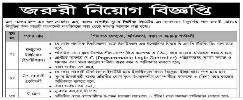 S. Alam group job circular 2019