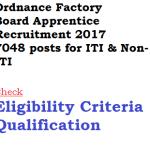 Ordnance Factory Board Apprentice Recruitment 2017 OFB 7048 Vacancy