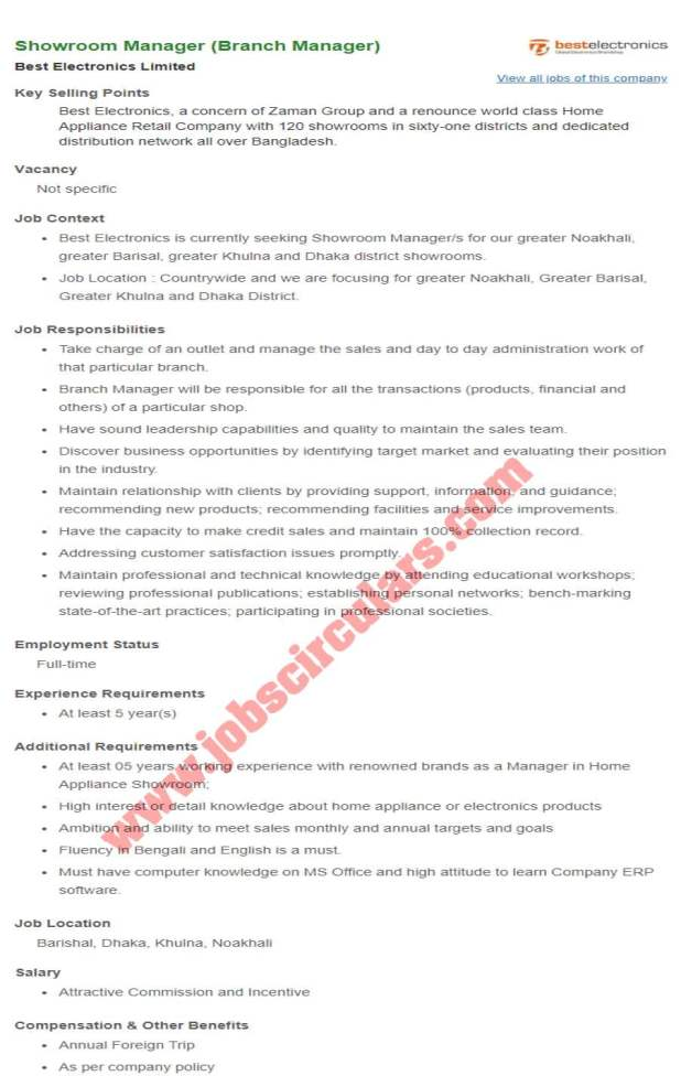 Best Electronics Limited Branch Manager job Circular 2020