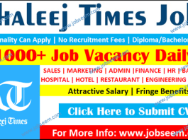 Buzzon Khaleej Times Jobs Today for Freshers 2020 New Job Career Vacancy Daily Newspaper