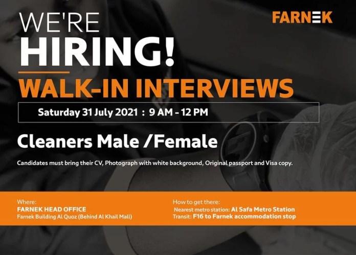 Farnek Walk in Interview Recruitment