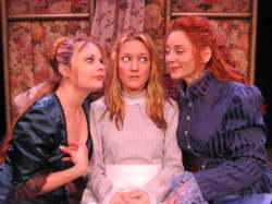 (L-R) Katrina Stevenson, Allison Burns and Emilia Sargent in Jobsite's Boston Marriage. (Photo by Brian Smallheer.)