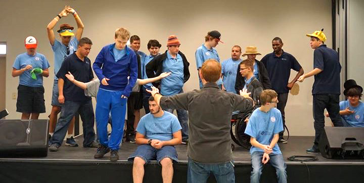 David Jenkins attends Focus Academy for a Jobsite outreach to worked with students on sound, movement and imagination exercises.