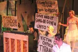 (L-R) Jeremy Douglass, Jennifer Casler, Chris Jackson and Maggie Mularz in Jobsite's The Threepenny Opera. (Photo courtesy Angelina Hill and Sickles TV Production.)